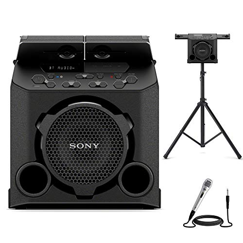 Sony GTK-PG10 Portable Wireless Speaker with Speaker Stand and Microphone Bundle (3 Items)