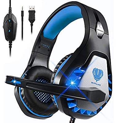 Gaming Headset for PS4 Xbox One Nintendo Switch Laptop PC, DIWUER Stereo Gaming Headset with Microphone Bass Surround and Noise Cancelling Headphones, 3.5 mm Interface and LED Light by DIWUER