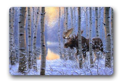 Eastery Custom Es Auf Der Move Gemälde Winter Schnee Tiere Forest Einfacher Stil Elch Design Rechteckig Dekorative rutschfeste Fußmatte 15,7 Von 23,6 Von 3 16 Zoll (Color : Colour, Size : Size)