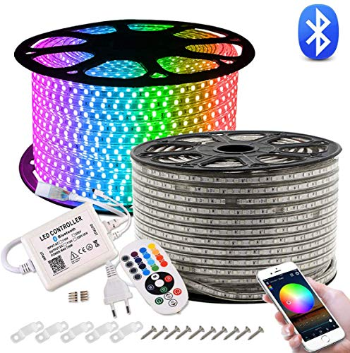 GreenSun LED Lighting 20M LED Strip, RGB LED Striscia Duractron Bluetooth controllore IP65 Impermeabile per Natale, Feste, Decorazioni