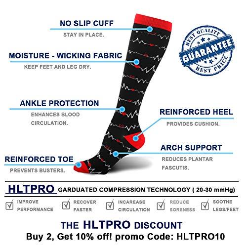 Product Image 6: HLTPRO Compression Socks for Women & Men Circulation – 4 Pairs for Nurse, Medical, Flight, Running
