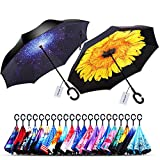 Owen Kyne 2 Pack Windproof Double Layer Folding Inverted Umbrella, Self Stand Upside-Down Rain Protection Car Reverse Umbrellas (Starry Sky+Sunflower)