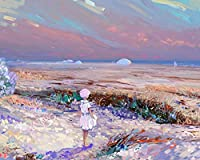 女の子の孤独なアートフィールド数字によるDiyデジタル絵画現代の壁アートキャンバスペイントホリデーギフト家の装飾大きなサイズの油絵の具カラー原稿 カスタマイズ可能 40x50cmフレームなし