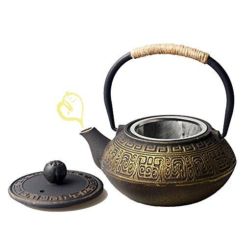 Hwagui-Teiere in ghisa con filtro Teiere dorate con filtro in acciaio inox Fornello Bollitore 0,6l / 600 ml