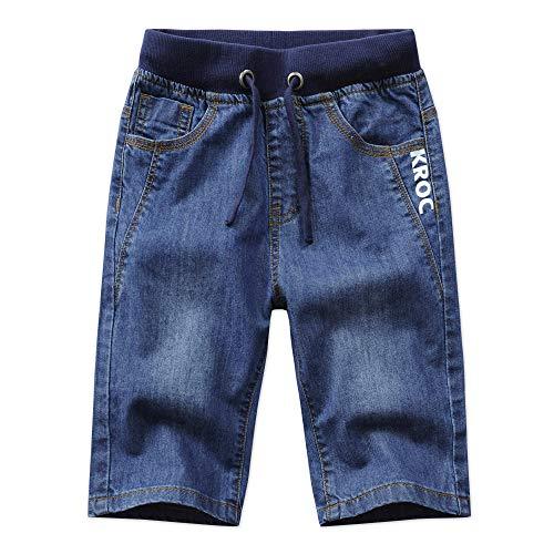 Unsvor Kinder Jungen Jeans Shorts Elastische Taille Kordelzug Kurze Hosen Baumwolle Knielänge Sommer Hose Sommerkleidung Blau 146