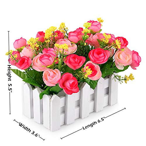 Louis Garden Artificial Flowers Fake Rose in Picket Fence Pot Pack – Mini Potted Plant (Pink)