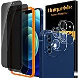 [2+2 Pack] UniqueMe Privacy Screen Protector and Camera lens Protector compatible with iPhone 12 6.1' Tempered Glass, Anti Spy [Easy Installation Frame] 9H Hardness High Definition [Precise cutout]