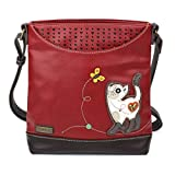 Chala Handbags Sweet Messenger Mid Size Tote Bag - Slim Cat Burgundy