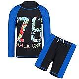 HUANQIUE niños Negro Traje de Bano 5garabatos–14Y natación Set de Dos Piezas Manga Larga erupción Guardia Boysuit Disfraz, Infantil, Negro