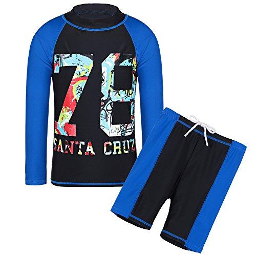 HUAANIUE Traje de baño negro de dos piezas para niños 5-14Y, traje de baño de 2 piezas con protector de erupciones de manga larga, traje de novio 7-8Y negro