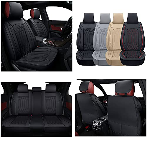 TKAAKT Car Seat Covers, Faux Leatherette Automotive Vehicle Cushion Cover for Cars SUV Pick-up Truck Universal Fit Set for Auto Interior Accessories-Black