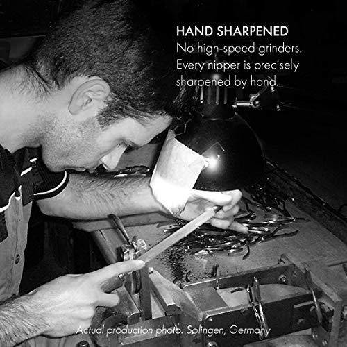 GERMANIKURE 7pc Manicure & Pedicure Set: Nail Scissors, Fingernail & Toenail Clippers, Cuticle Nipper, Tweezer, Glass Nail File, Glass Cuticle Stick in Leather Case - Made in Solingen Germany