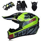 Casco MTB Integral para Niños/Jóvenes/Adultos - Set Casco Motocross Con Gafas/Guantes/Máscara - con Fox Designed, Certificación DOT - Verde Gris