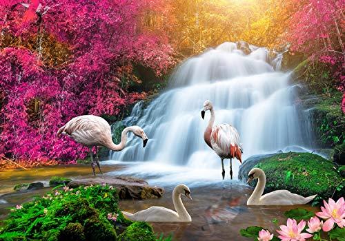 wandmotiv24 Fototapete Flamingos Wasserfall Traum, S 200 x 140cm - 4 Teile, Fototapeten, Wandbild, Motivtapeten, Vlies-Tapeten, Blumen, Wald, Rosa M1278