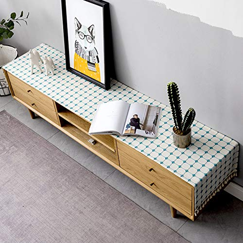 Modern and Fashionable Checkered Cotton and Linen Table Runner, 30x240cm