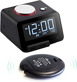 [Upgraded Version] Homtime Loud Alarm Clock with Wireless Powerful Bed Shaker for Heavy Sleepers,2 USB Charging Ports,Auto-Dimming,Gesture-Controlled Nightlight,Auto time sync with iOS-Black