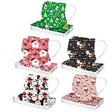 Snakell 50 Stück Bandana Weihnachten Gedruckte Schlauchtuch Atmungsaktive 3-lagig Bedeckung Multifunktionstuch Halstuch für Damen und Herren