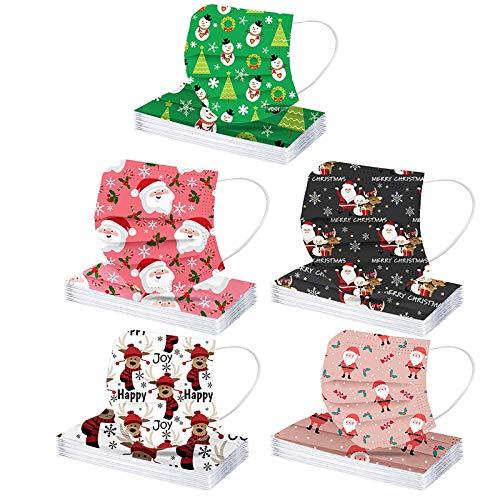 50Pcs 3-ply Disposable Christmas Xmas Theme Printed with a Box for Adult, Multiple Pattern Combinations Protection for Party (5x10pcs, Adult L)