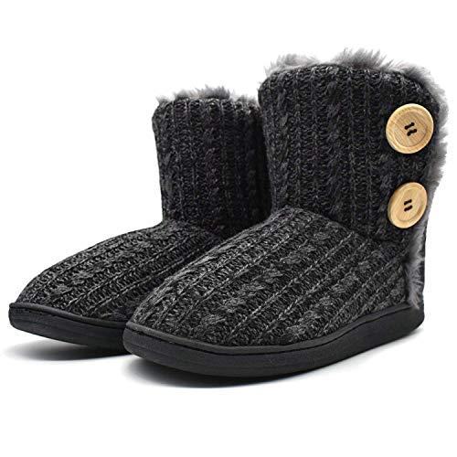 KuaiLu Zapatillas-Casa-Mujer, Chenille Tejer Zapatillas Casa Mujer Cerradas Invierno, Cálida Altas Densidad Memory Foam Zapatillas Casa Mujer Invierno, Antideslizante Suelas Zapatos Negro 38-39