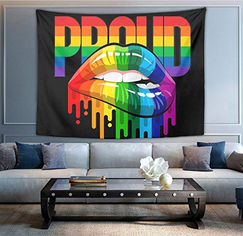 NiYoung Hippie Hippy Wall Tapestry LGBT Pride Lips Black Large Mysterious Tapestry Wall Hanging Tapestry for Bedroom Dorm Accessories Mandala Yoga Picnic Mat Ethnic Tapestry