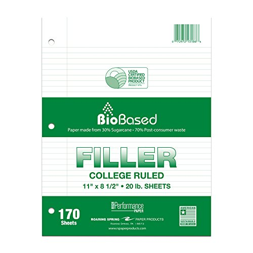 """Roaring Spring BioBased Recycled College Ruled Loose Leaf 3 Hole Punched Filler Paper, 11"""" x 8.5"""" 170 Sheets"""