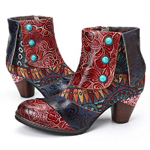 gracosy Block Heel Ankle Booties, Women's Bohemian Splicing Pattern Side Zipper High Block Heel Ankle Leather Boots Red-z 6 M US