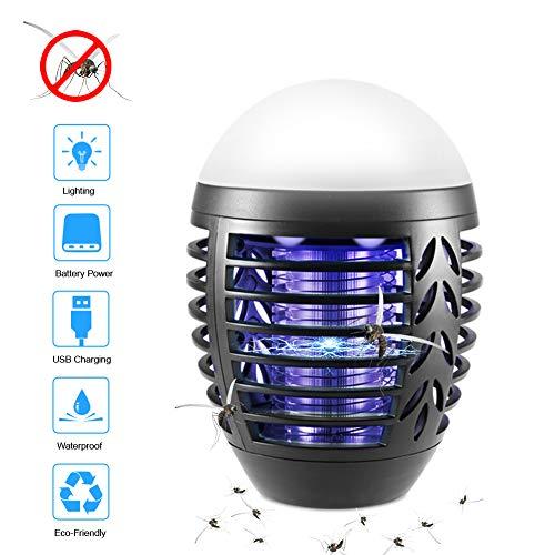 ZOTO Insektenvernichter Elektrisch, 2-In-1 Mückenlampe Campinglampe mit 2200mAh USB Wiederaufladbarer Akku, IP66 Wasserdicht Mückenkiller Campinglaterne Indoor Outdoor mit einziehbarem Haken