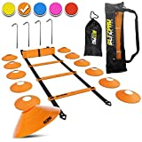 Bltzpro 20-Foot Agility Ladder Training Kit | Includes 12 Sports Cones, 4 Anchors, 2 Carry Bags, eBook | Soccer Exercise Equipment, Football Workout Gear, Footwork Speed Practice for Kids & Coaches