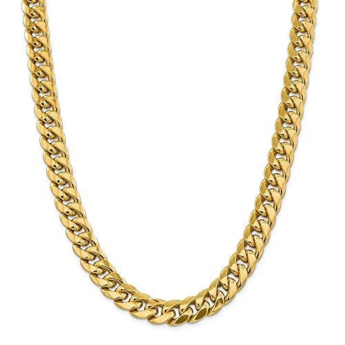 Chaîne en or jaune 14 carats 12,55 mm Miami Cubain Collier homard 76,2 cm pour homme et femme