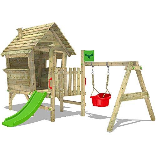 Fatmoose VanillaVilla Joy XXL, speelhuisje met glijbaan, veranda en schommelaanbouw, babyschommel voor kleine kinderen