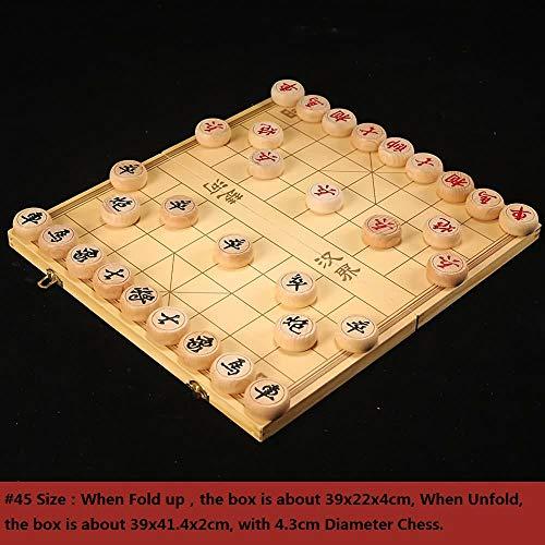 Gobus Juego de ajedrez Chino de Madera en una Caja Plegable Juegos de Viaje Juegos de Mesa Xiangqi (# 45: Caja de 39x21,6x4 cm con ajedrez de 4,3 cm de diámetro)