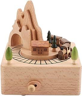 Cajas musicales de madera, con túnel de montaña con un pequeño regalo de caja de música de tren en movimiento para la decoración de cumpleaños de Navidad