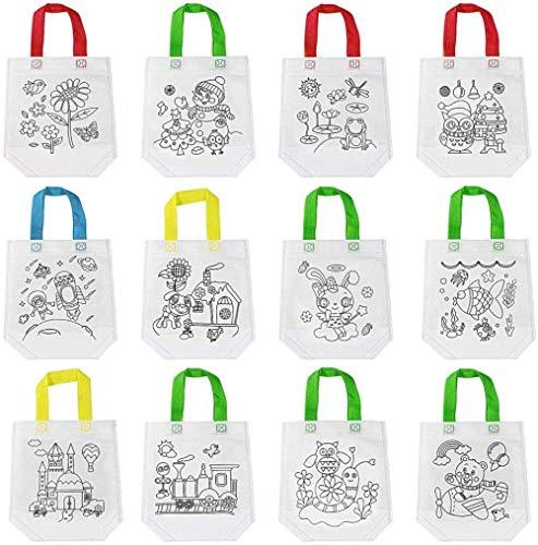 BBGSFDC Bolsa de Asas de Graffiti, 12 Unidades Bolsas de Fiesta para niños no Tejidos Party Goodie Treat Bag Eco Bag Reutility Bolsa de Compras Bolsa de Regalo con Asas