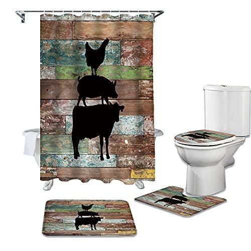 ZSDFPW 3D Gedruckter Duschvorhang Gelbgrünes schwarzes Holzmaserungstier Duschvorhang gesetzt Polyester für Badezimmer wasserabweisend & Anti-Schimmel waschbare Badematte 180×180 cm