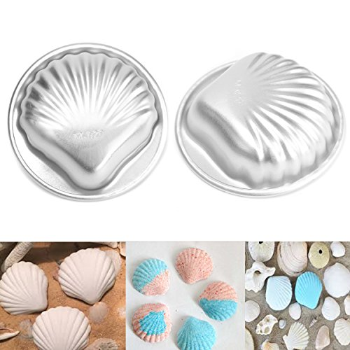 Janitorial & Sanitation Supplies - 2pcs Set Diy Metal Bath Bomb Mold Bath Fizzy Shell Shape Metal Molds Crafting Metal Bath - Shell Shape Bowls Makeup Brush Ceramic Bag Metal Molds