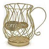 Porta Capsule Caffè in Ferro Battuto Cestello Portaoggetti a Forma di Tazza Cestino Porta Cialde Caffè Nespresso Organizzatore per Cialde di Caffè per Casa Bar Hotel (Oro)