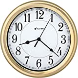 ISHIWA 8.5 Inch Simply High-end Plastic Decorative Wall Clock, Water Resistant, Special for Small Space, Office, Boats, RV (W86009 Gold-Plated)