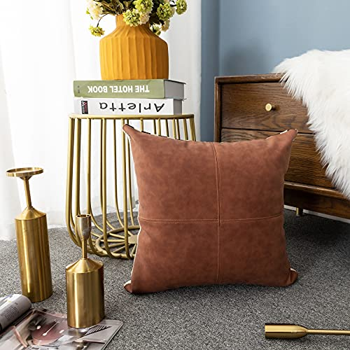 LIGICKY Funda de cojín de piel sintética con diseño de rayas, diseño moderno, estilo bohemio, para sofá, cama, sala de estar, 45 x 45 cm