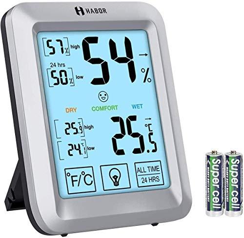 Habor Termómetro Higrómetro Digital,Monitor de Humedad y Temperatura con Pantalla Táctil y Retroiluminación 3,8 pulgadas, Indicador de Termómetro de Alta Precisión con Pantalla LCD hogar y oficina