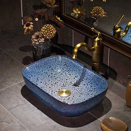 Cuarto de baño de cerámica encima del contador del fregadero del recipiente moderno de 16 pulgadas artístico encimera de porcelana Cuenco esmalte pintado patrón de la gota de agua del lavabo Pie bajo