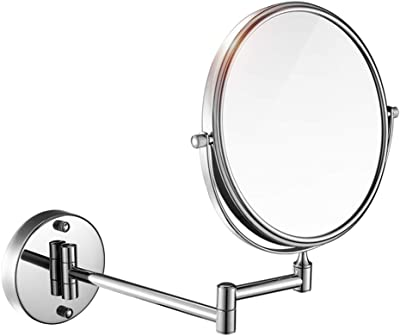 XIAODONG Bathroom Mirror, Stainless Steel Wall-Mounted Vanity Mirror Double Mirror 3 Times Magnification