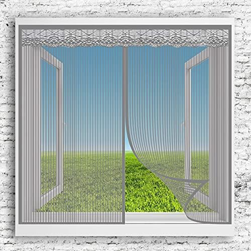 Zanzariere Magnetiche 95x140cm(37x55inch) Anti Zanzare Insetti Tende Divisorie Tende per Porte con Calamite e Chiodi da Montaggio per Porte Finestre Balcone Soggiorno, Grigio A