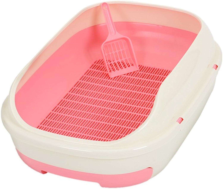 Cat Litter Basins Double Layer Cat Toilet Large Open Type Cat Bedpan Cat Urinal Pine Cat Sand Basin Pet Cat Toilet ( color   Pink )
