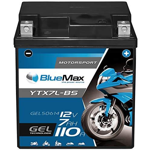 BlueMax YTX7L-BS Motorradbatterie GEL 12V 7Ah CTX7L-BS Batterie Roller 7Ah 6Ah