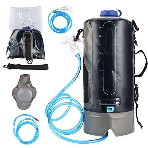 Deror Camping Shower, Outdoor Senderismo Camping Bolsa de Ducha de 12 l con Bomba de pie de presión y Boquilla de Ducha