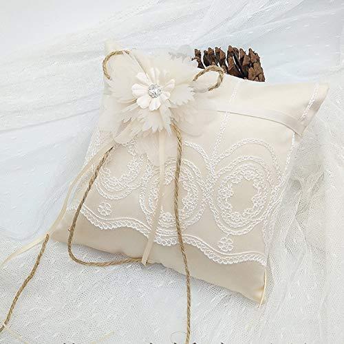 Dibiao Cojín de Anillo de Encaje Floral Cojín de Bolsillo de La Ceremonia de La Boda con La Cinta 5 9 * 5 9 Pulgadas