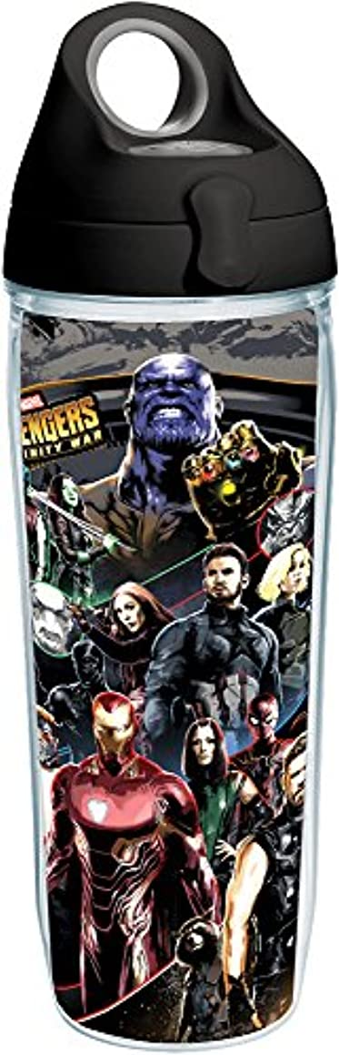 Tervis 1293721 Marvel-Avengers Infinity War Insulated Tumbler with Wrap and Black with Gray Lid, 24 oz Water Bottle, Clear