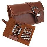 Maniküre-Set, 11-teilig, für Reisen und Fellpflege, echtes Leder, Nagelpflege, persönliche Maniküre und Pediküre