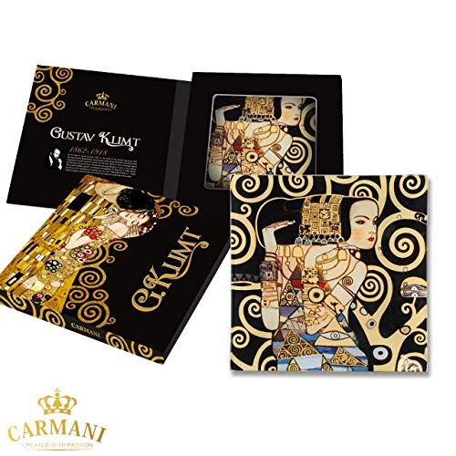 CARMANI - Plaque de verre rectangulaire décorative pour snack, plat de fete, noix, assiette de service imprimée avec la peinture «Attente» de Gustav Klimt 15x15cm