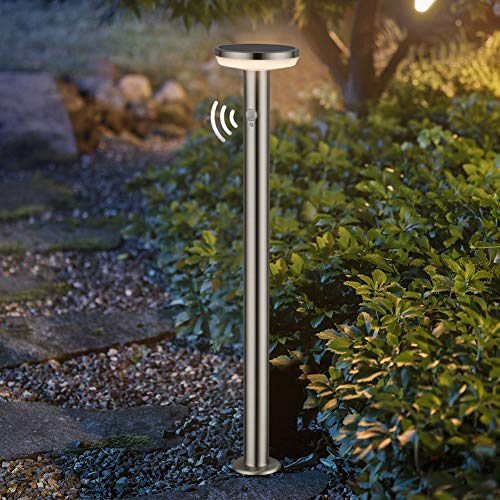 BRIMMEL Solar Bollard Light 600LUM Warm White 3000K Garden Landscape Light with Motion Sensor IP44 Waterproof 8H Endurance Wireless Brushed Stainless Steel Post Lamp, 80cm, SG601156